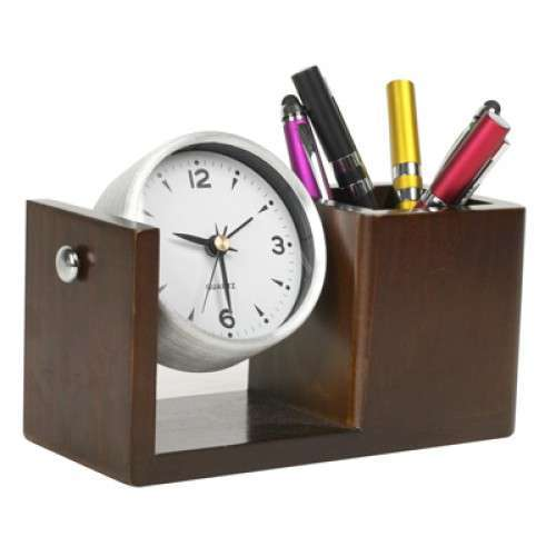 Table Clock Pen Stand