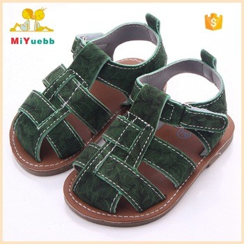 e2ea66236216 Baby Simple Leather Rubber Sole Baby Flat Sandals Boys