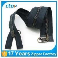 auto lock brass long chain metal double sided zipper Manufacturer