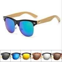 Half Frame Rimless Sunglasses Bamboo Shades Manufacturer
