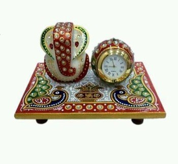 Indian Handmade Marble Painted Table Clock and Ganesha Staute