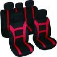 Fit 9pcs full set polyester fabric car seat cover red fit most car truck or van Manufacturer