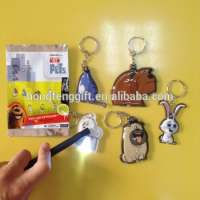 Cheapest gifts led key chains PVC soft LED keychain mini projection led keychain light Manufacturer