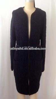 ladies long sleeve wool coat contrast leather trim