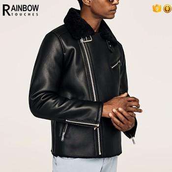 black shearling leather coat men