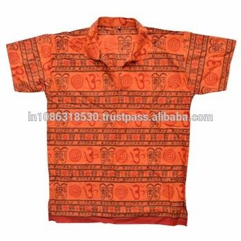 3889d0bb Short Kurta Shirt Casual Gauze Kurta Om Cotton Symbol Hindu Om Hare Rama  Hare Krishna Dress