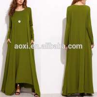 abayas green long sleeve shift maxi muslim dress for women Manufacturer