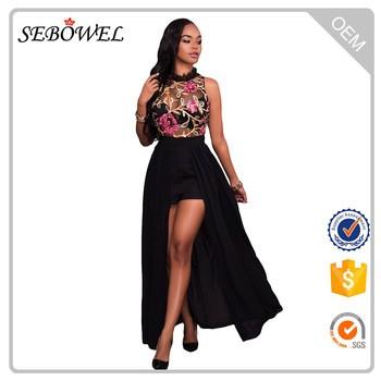 cfea5061de08 High Neck Sleeveless Mesh Embroidered Chiffon Romper Maxi Dress