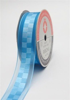 Organza Edged Checked Satin Ribbon