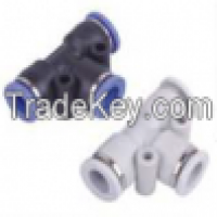 pneumatic plastic push in PUT union Tee air connector Manufacturer