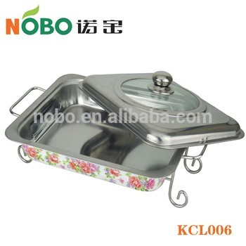 Stainless steel food serving dish stand shallow chafer