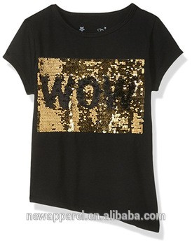 c2e8a37a Gold Reversible Shiny Sequin T shirt Black WOW Change 2 Way Sequins Letter  Funny T shirts