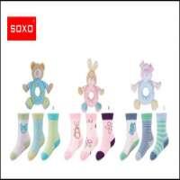 SOXO infant gift socks set 3 pairs of socks toy rattle Manufacturer