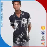 Cheapest mens black and white printed dress shirts Manufacturer