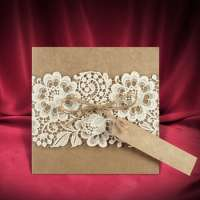 Rustic Wedding Invitation Card Lace Plastic Cover Manufacturer