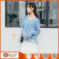 High Collar blue knitted sweater machine
