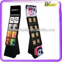CD DVD Eight Cell Modular Blank Display And Header Cost Cardbaord Display Floor Rack
