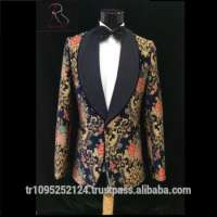 Wedding 2 Piece BlueRed Embroidered Man Suit Manufacturer