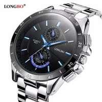 LB 8833 Longbo Luminous Waterproof Man Hand Watch Stainless Steel Quartz Wristwatches