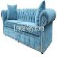Chesterfield 4 Seater Settee Elegance Teal Velvet Fabric Sofa Offer Manufacturer