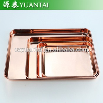 colorful rectangle shape dinner dishes charger plate serving tray stainless steel