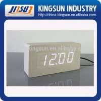 Upgrade LED Alarm Clock Wood Clock LED Display Temp Time Sounds Control Electronic Desk Digital Clocks KSW105