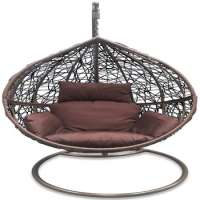 Outdoor Hanging Egg Pod Chair Dark Brown Basket & Cushion