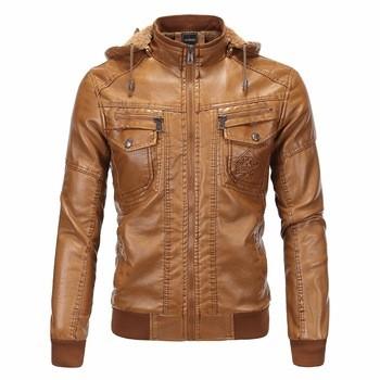 Khaki Heavy PU Leather Jacket Men