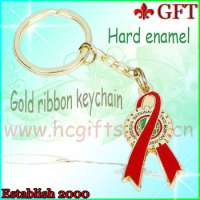 HOTTEST DESIGN!Red ribbon gold key chainkeychain  Manufacturer