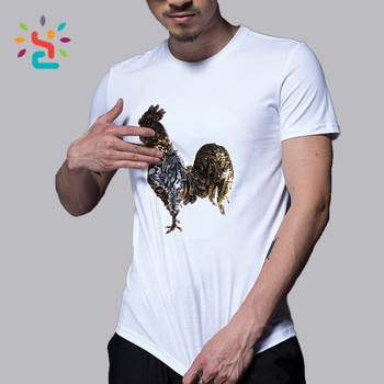 68965c73 Can be changed into gold or silver Cock reversible sequin mens t shirt punk  hip hop