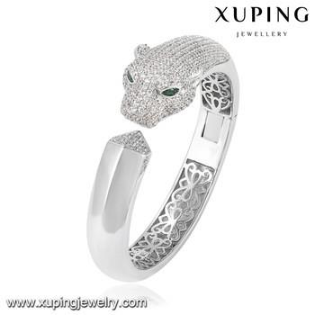 51128 xuping animal tiger head bangle jewelry stone studded bangles gold  bangles in abudhabi