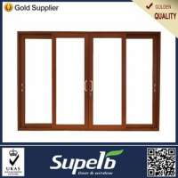 Wood Grain Aluminum sliding glass door High Quanlity Hardware