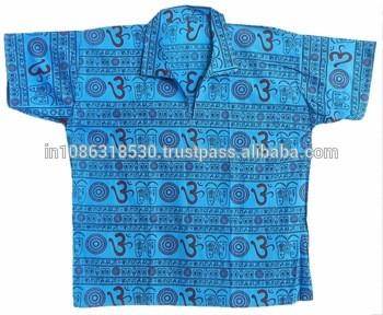 64a1a24c OM Hare Rama Hare Krishna Short men Kurta Shirt Casua Gauze Kurta Om Cotton  Symbol Hindu