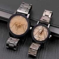Male Wheel Gear Dial Stainless Steel Couple Quarzt Watch Analog Design Watch Manufacturer