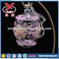 Decorative hanging hand brown clear glass eggs painted flower easter ornaments Manufacturer