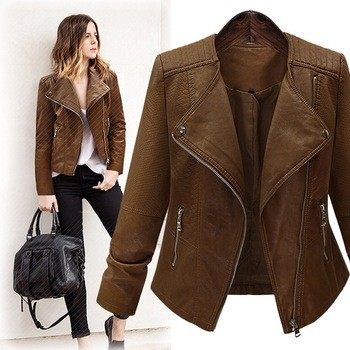 cool leather coat leather jacket snake skin zipper rider coat lapel collar blouse all match casual coat women