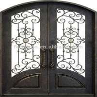 Wrought iron glass entry door iron door Manufacturer