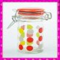 cylinder glass spice jar glass lid and metal clip holder Manufacturer