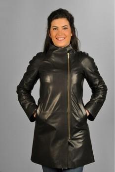 Women s Black Leather 34 Coat Jacket