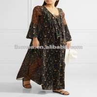 printed silkgeorgette bohemian chine kaftan mix dress women Manufacturer
