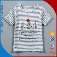 printed stripe Pure Cotton linne short sleeves Tshirt t shirt boys Manufacturer