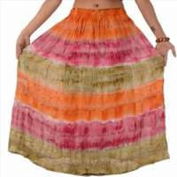 Skirts & Scarves Woman Embroidered Long Skirt Georgette Tie Dye Maxi Lace Work Manufacturer