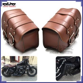 70af27e6d89 BJBAG006 Motorcycle Leather Saddle bag Davidson Side Storage bag Harley  Sportster XL883 XL1200
