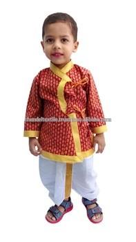 Indian Kids Om Print Saffron Dhoti Kurta Boy s Traditional Angrakha Set  Dhoti Suit Kids Baby Wear Ethnic Dress From CHANDEL TEXTILE 7e16aa7c6