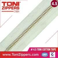45 metal zipper in cotton tape