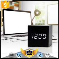 Wooden LED Alarm Clock Thermometer Temp Date LED Display Calendars Electronic Digital Wooden Table Clock Gifts