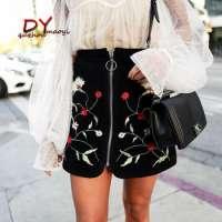 Black High Waist Embroidered Zipper Slim Short Skirt Manufacturer