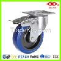 200mm Swivel brake elastic rubber caster wheel Manufacturer