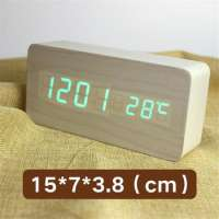 Wood Led Digital Alarm Clock Thermometer Timer Calendar Voice Control Wireless Qi Charging Phone Despertador Clock Manufacturer