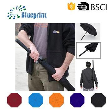 Shenzhen blueprint umbrella co limited guangdong china black pongee samurai umbrella samurai handle umbrella carry bag malvernweather Image collections